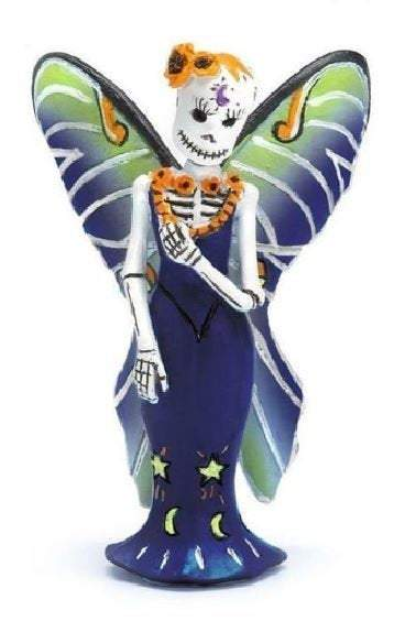 Day of the Dead Luna Fairy, Fairy with Luna Moth Wings, Dia de los muertos Decor,  Skeleton Fairy Cake Topper