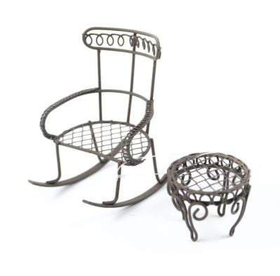 Micro Mini Brown Rocking Chair with Table, Rustic Fairy Furniture, Metal Fairy Garden Accessory