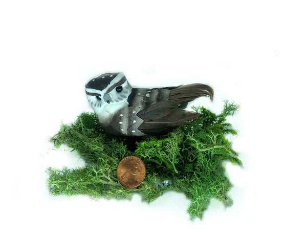 Miniature Owl, Brown and White Owl on a Clip, Fairy Garden Bird