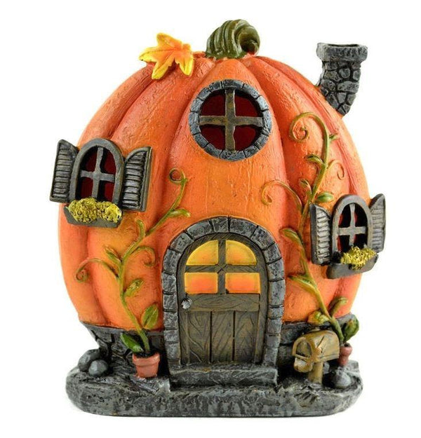 Fairy Garden LED Pumpkin House, Halloween LED House, Fall Table Centerpiece
