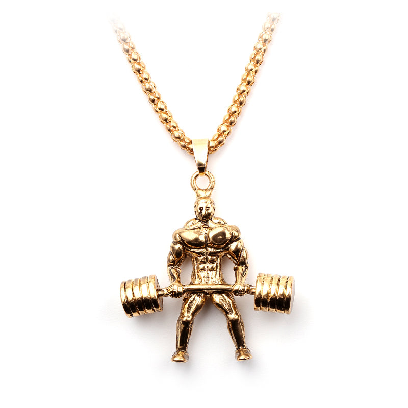 Mens Power Deadlift Charm Necklace