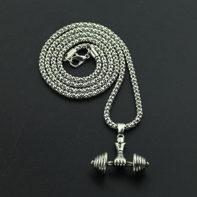 Dumbell Fist Pendant and Necklace