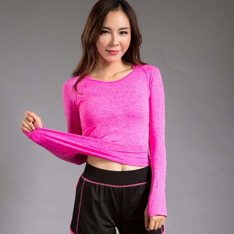 Quick dry long sleeves stretched sports fitness yoga t-shirt