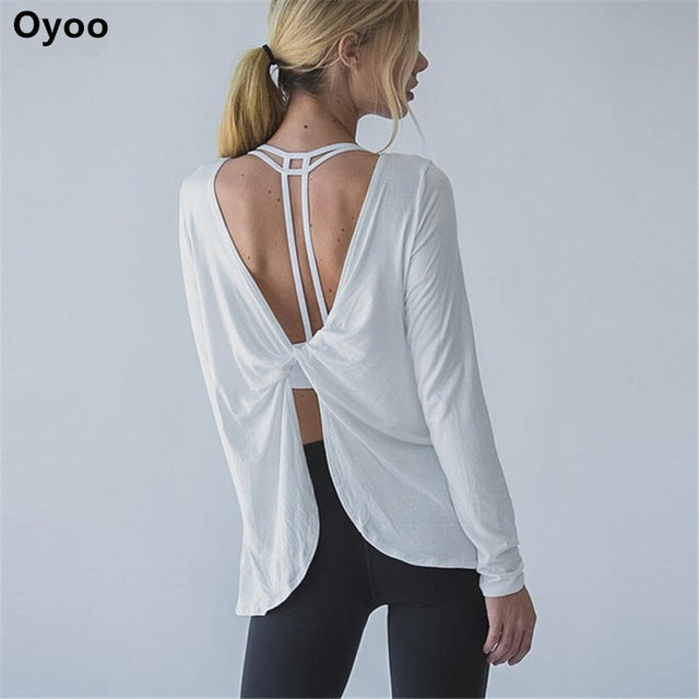 Oyoo twist back long sleeves drape training sport top solid white lightweight yoga shirt
