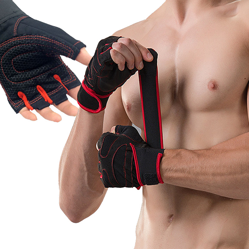 With Belt Body Building Fitness Gym Gloves, Crossfit Weight Lifting Gloves