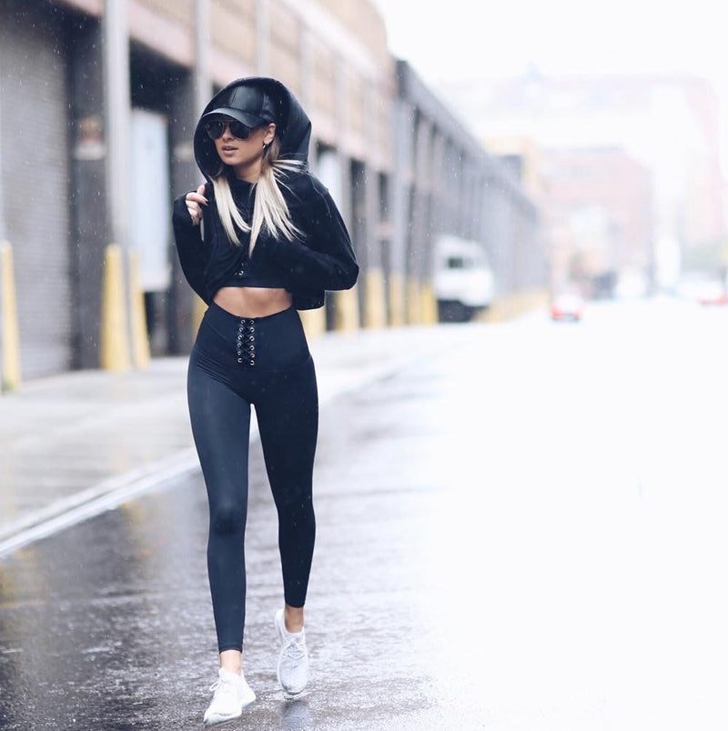 Winter elastic waist solid color sexy workout leggings