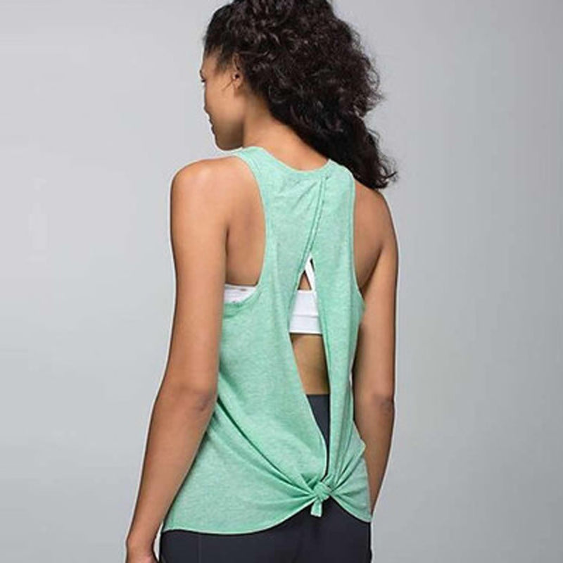 Women Open Back Yoga Tank Top Shirt