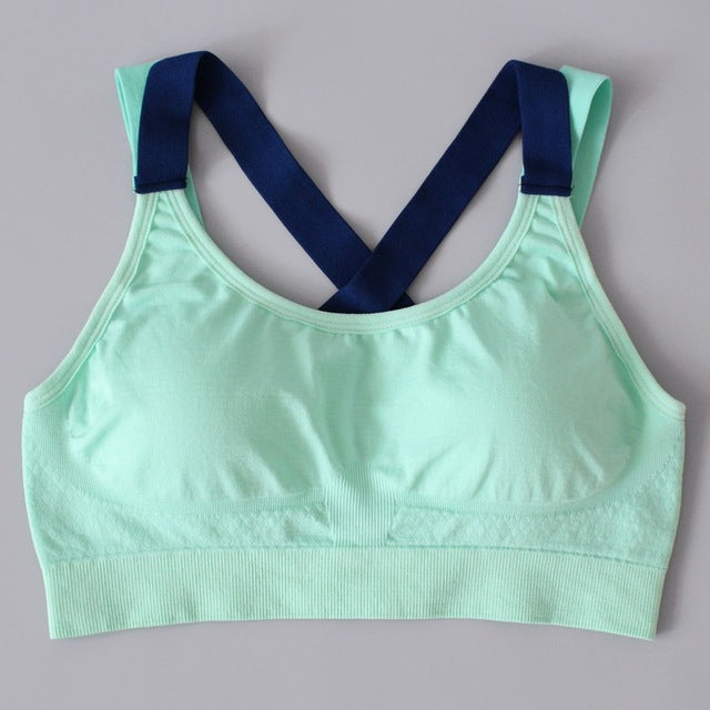 Women Stitching Color Yoga Top Sports Bra