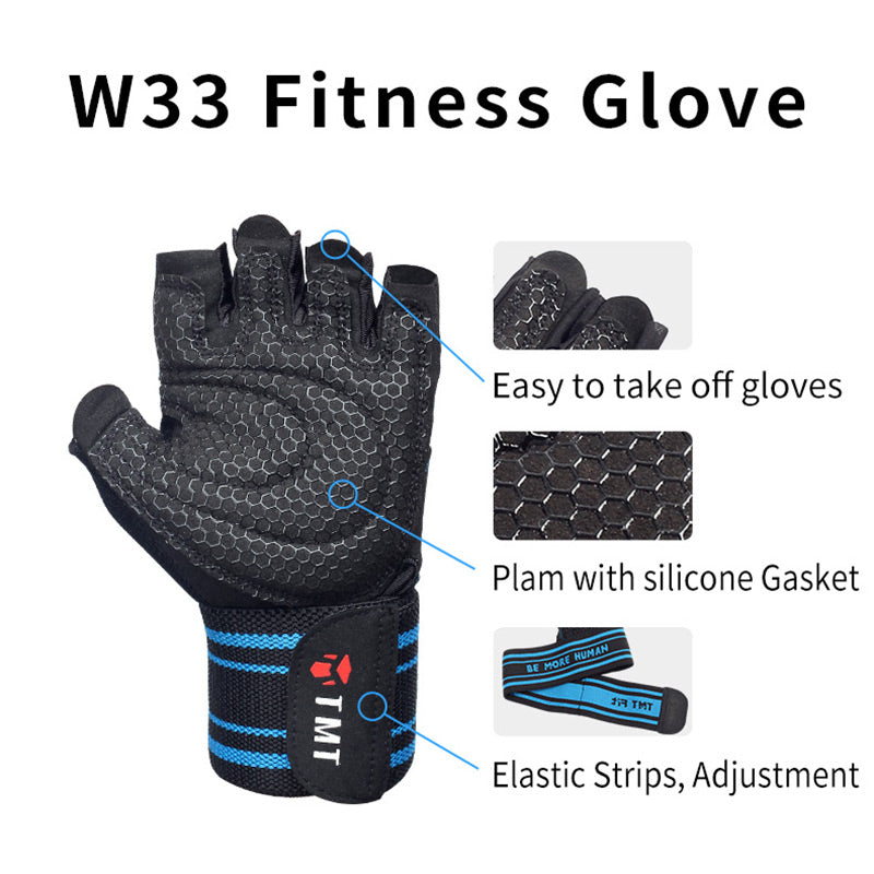 TMT gym gloves, dumbbell Half Finger. Sport Training Gloves