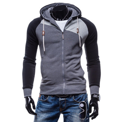 LaMaxPa Fashion Brand Sweatshirts - Men zipper Hoodies Patchwork
