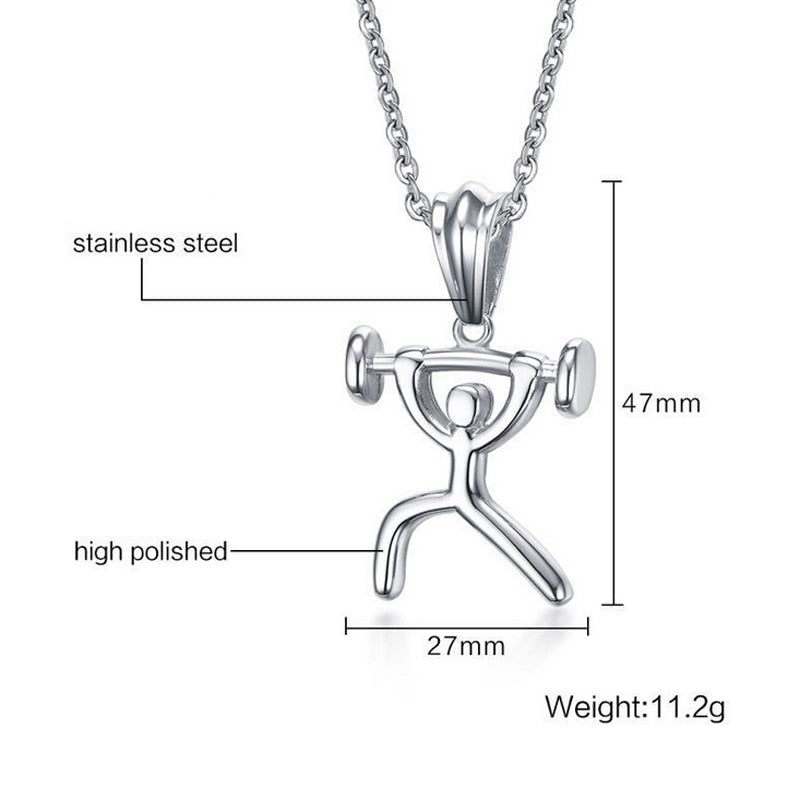 Bodybuilding Barbell Pendant and Necklace