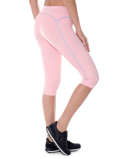 Women's Knee Length Tight Fit Yoga Running Capri Leggings Pants