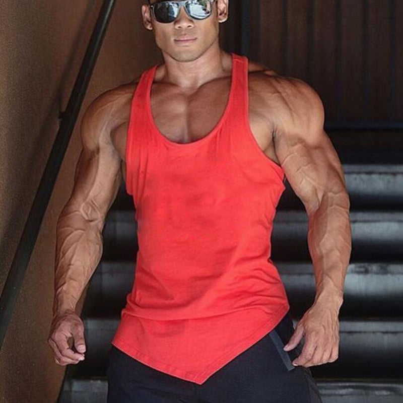 Solid Asymmetric Mens Tank Top