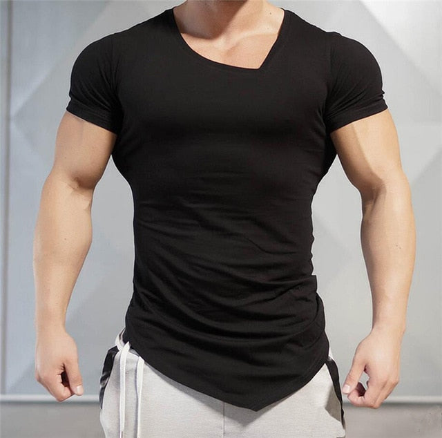 Mens Asymetric V-neck T-shirt
