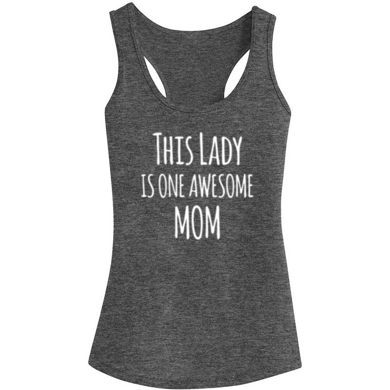 "Womens ""This Lady is an Awesome Mom"" Funny Fitness Workout Racerback Tank Tops"