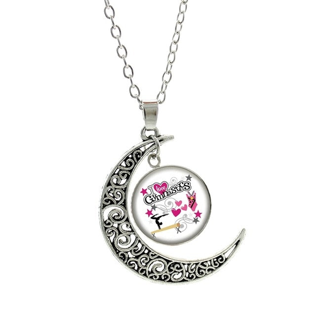 Gymnastics Lovers Crescent Moon Pendant and Chain