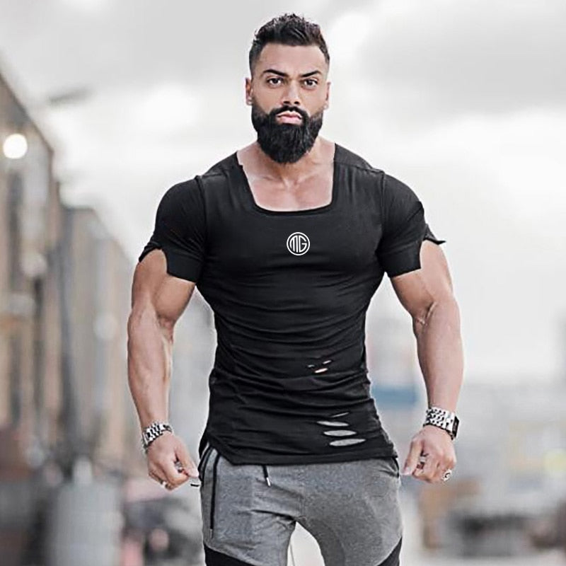 Mens Distressed Slim Fitting Bodybuilding T-shirt
