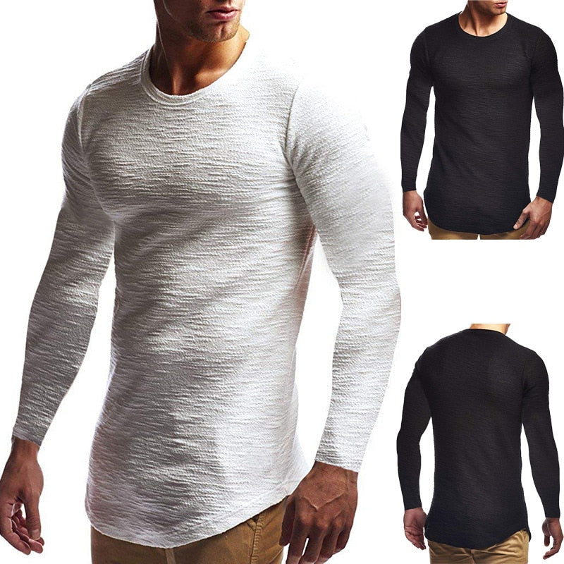 Mens Long Sleeved Slim T-Shirt