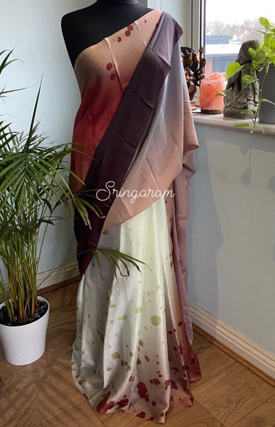 Crepe satin saree