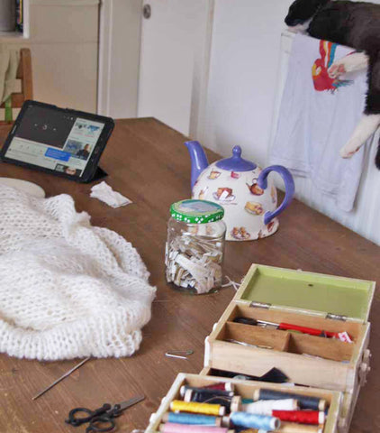yarn, sewing box, designing in my atelier for knitting