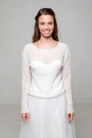 Cashmere knit pullover white and ivory from Beemohr