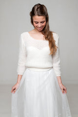 Wedding sweater knitted in ivory and white with soft wool