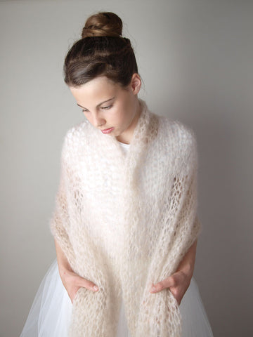 Knit Stole roughly knitted for brides and dresses