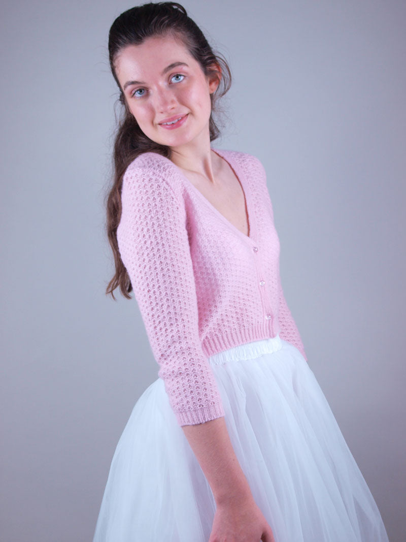 Rose knit cardigan suiting your bridal skirt