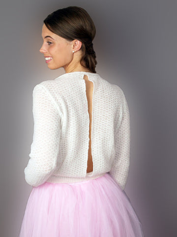 Bridal sweater with deep neck