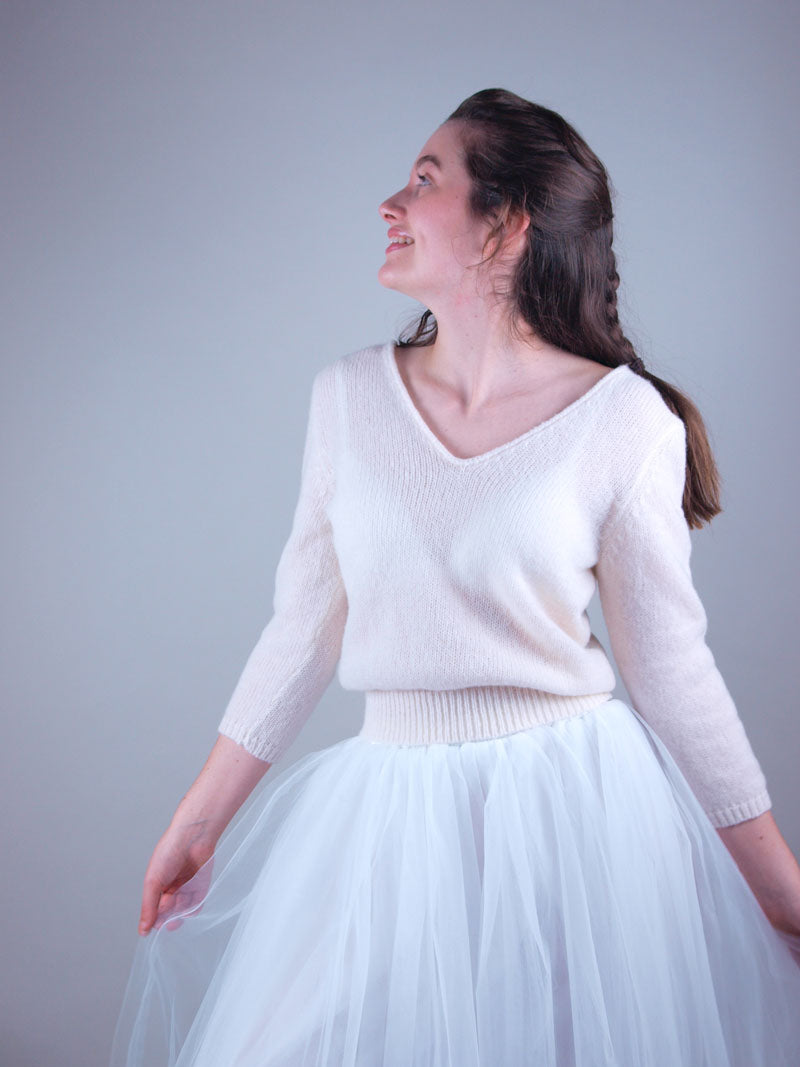 cashmere knit pullover in cream suiting wedding skirt