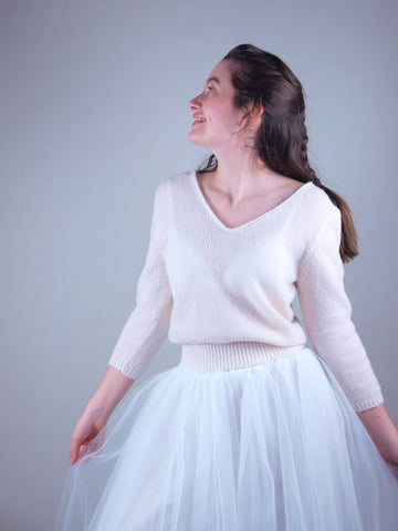 Knit sweater for brides made from beemohr