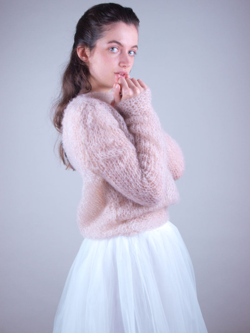 Bridal knit sweater hand knitted in light beige for weddings