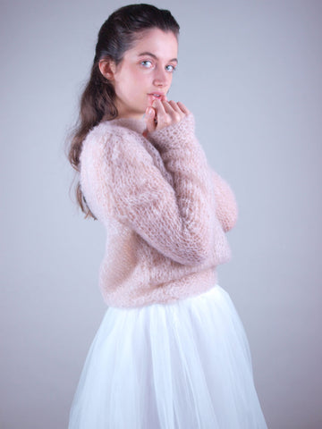 Wedding sweater knitted for cool brides with soft wool
