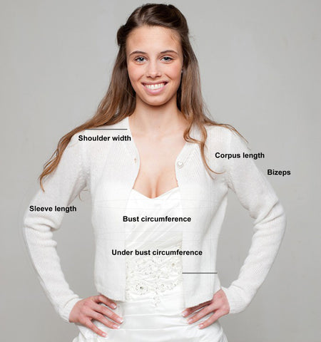 Take measure for your bridal pullover or jacket