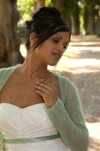 Wedding bolero knitted white, ivory, blush, light green