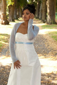 Knit Couture: Wedding bolero knitted in white, ivory, blush, pale blue, gold, pale brown