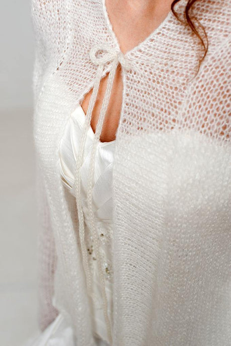 Bridal knit cardigan look through made of alpaca and cashmere wool ivory