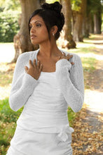 Load image into Gallery viewer, Cashmere knit bolero for brides with 3/4 sleeve white