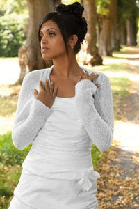Cashmere knit bolero for brides with 3/4 sleeve white