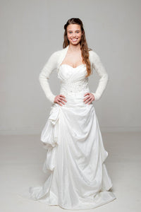 Wedding knit jacket in ivory and white for wedding dress and skirt