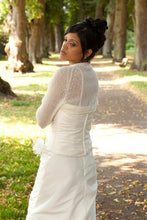 Load image into Gallery viewer, Wedding bolero for brides with 3/4 sleeve white and ivory