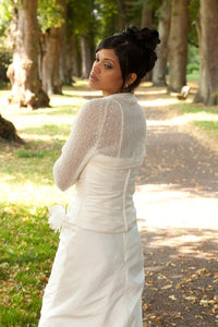 Wedding bolero for brides with 3/4 sleeve white and ivory