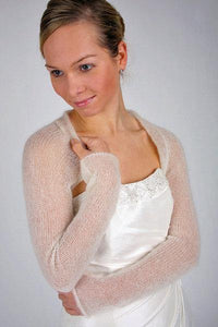 Wedding bolero knitted white, ivory, blush, dusty pink