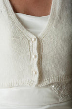Load image into Gallery viewer, Bridal cardigan with short sleeve bolero ivory with knots ala kate middleton