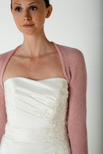 Load image into Gallery viewer, Wedding Cashmere bolero for brides with 3/4 sleeve white and ivory