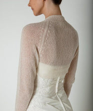 Load image into Gallery viewer, Wedding Cashmere knit bolero for brides with 3/4 sleeve