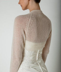 Wedding Cashmere knit bolero for brides with 3/4 sleeve