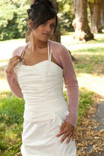 Load image into Gallery viewer, Bridal bolero knitted in white, ivory, blush, pale blue, gold, pale brown