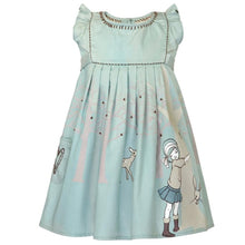 Load image into Gallery viewer, Summer dress for little girls in grey blue