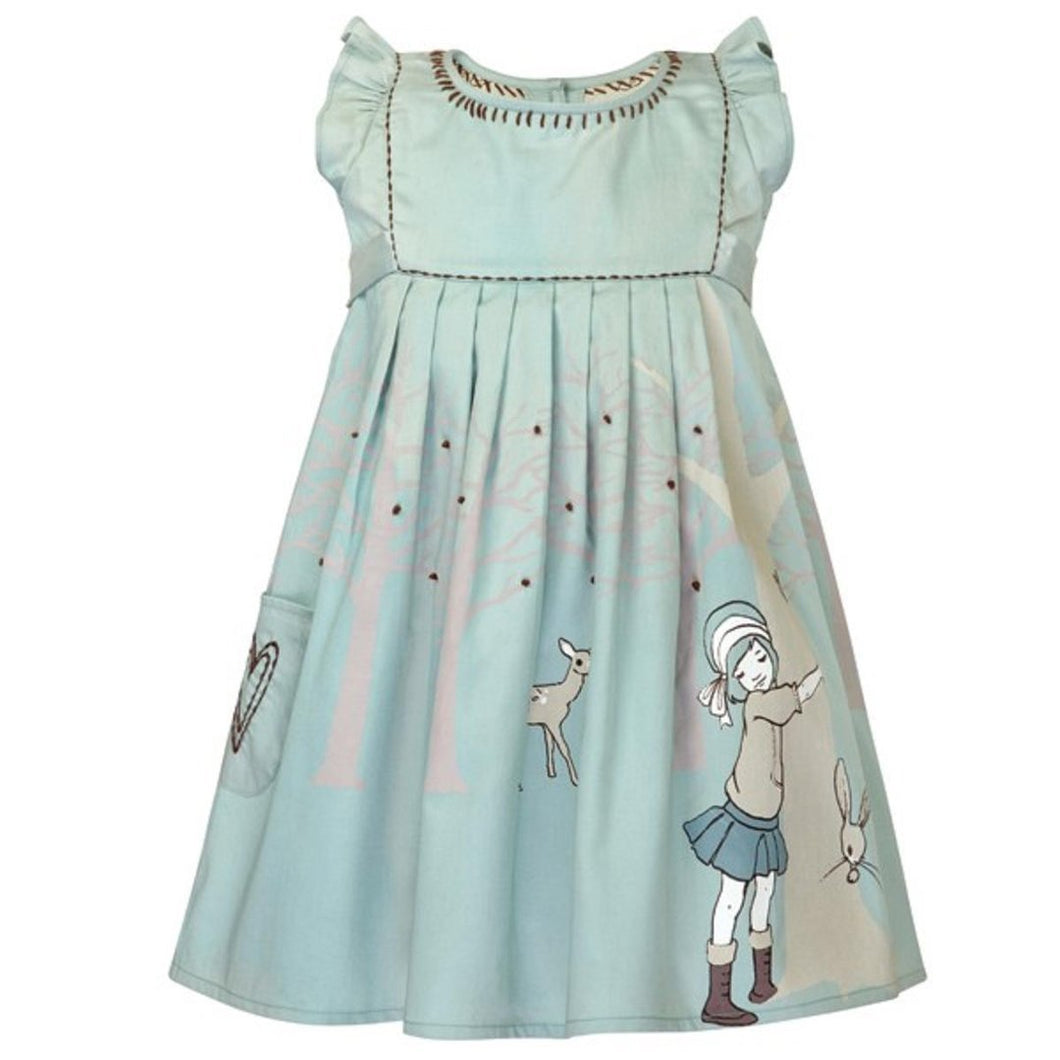 Summer dress for little girls in grey blue